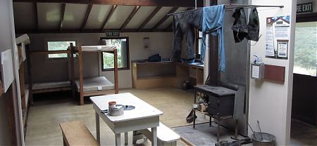 interior at Blue Lake Hut, Nelson Lakes National Park
