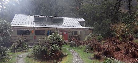 Yup, that's the compact Mintaro Hut.  | Mintaro Hut, Milford Track