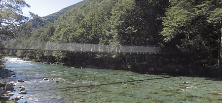 The bridge over the Caples River at the junction with the Greenstone Track   Caples Track, Greenstone Conservation Area