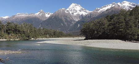 Mt Madelaine in the Darren Range from the Hollyford River  | Hollyford Track, Fiordland National Park
