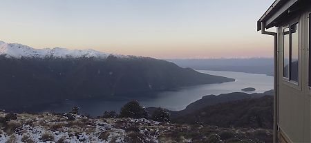 Sunset from Luxmore Hut, that's Lake Te Anau 800m down | Kepler Track, Fiordland National Park