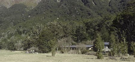 The Flats hut is down on the flats. |  Routeburn Flats Hut, Routeburn Track