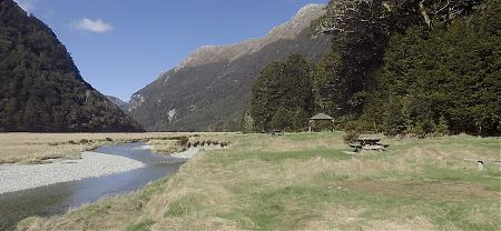 All the campsites are stretched out along the flat just above the Route Burn. | Routeburn Flats camping area