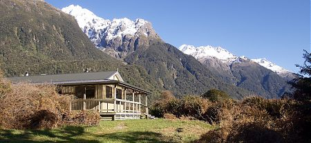 The Darran Range is magnificent, with the sun out.  | Hidden Falls Hut, Hollyford Track