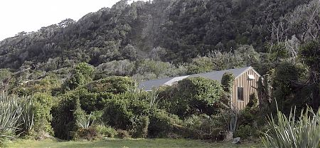 The hut is nestled away just up from the river mouth.  | Martins Bay Hut, Hollyford Track