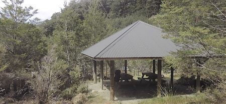 If you are ambling slowly a place for lunch in the wet. | Rocky point shelter, Kepler Track