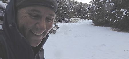 Day 14, plenty of snow up on Binser Saddle, I removed my glasses. |  Arthurs Pass blog