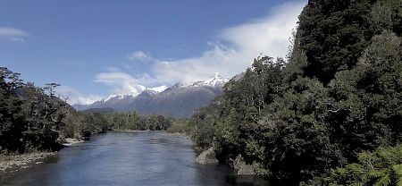 The Darran Range from the Pyke River suspension bridge. | Hollyford Track, Fiordland National Park