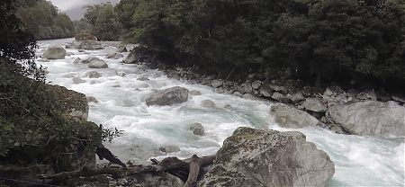 The upper Hollyford River from the Moraine Creek suspension bridge. One of the many infamous three-wire bridges on the Demon Trail, you get to enjoy them. | near the road, Fiordland National Park