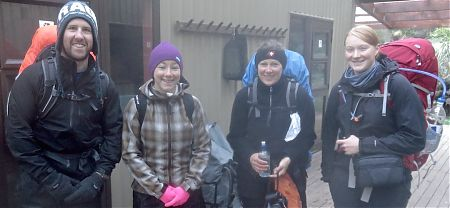 Some of the team leaving today, Simon, Marie, Jutta and Ann-Kathryn. | Milford Track, Fiordland National Park