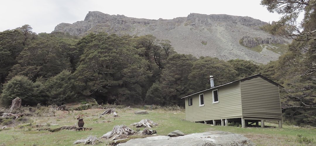 That cliff up behind the hut is indeed Mt Richmond. | Richmond Saddle Hut, Mt Richmond Forest Park