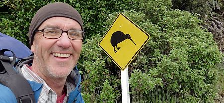 What better way to start a 16 day tramp than with a selfie. | Kaipipi Road, Stewart Island