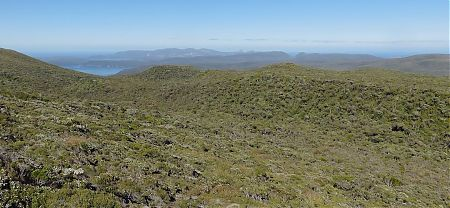 When you finally burst of of the more than head high scrubbery the view is just awesome. | Tin Range route, Stewart Island
