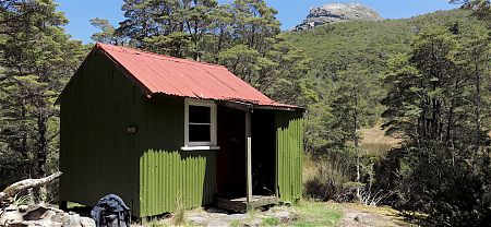 Looks like the hut has been recently painted. |  Cobb Hut, Kahurangi National Park