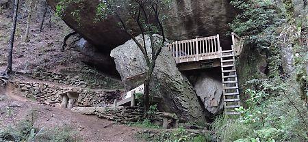 Yeah, that overhanging rock provides enough shelter. |  Lower Gridiron Shelter, Kahurangi National Park