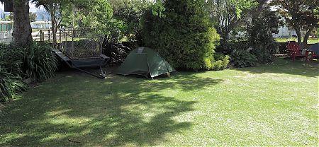 Camping out at the backpackers.    Takaka