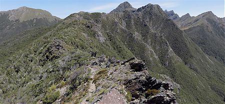Along the ridge. Yuletide Peak on the left, the needle centre, Dragons Teeth behind.   Kahurangi National Park