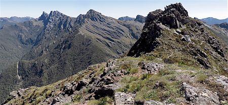 She's a rugged range: Dragons Teeth, Anatoki, etc.   Near Lonely Lake, Kahurangi National Park