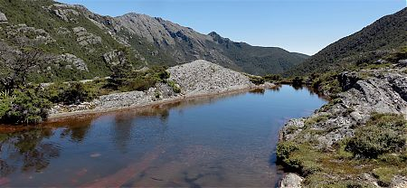 The tarn that you can go swimming in, well, in the middle of summer near Fenella Hut. | Kahurangi National Park