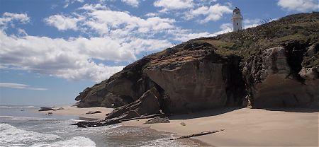 Those cliffs are way bigger than they look. | Kahurangi lighthouse, Kahurangi National Park