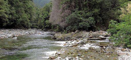 Kiwi Stream meets the Wangapeka River. Swingbridge in the distance. | Wangapeka Track, Kahurangi National Park