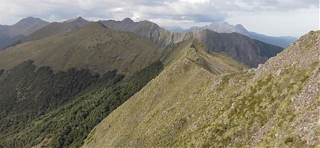 The narrow ridge, Nugget Knob on the left, Mt Patriarch on the right. | Matiri Ridge and Valley, Kahurangi National Park