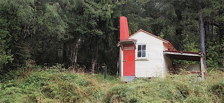 The Goat Creek Hut is on the edge of the forest.   Goat Creek Hut, Mokihinui Forks Ecological Area