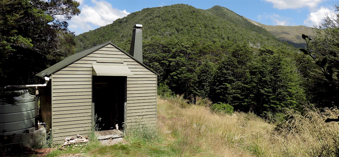 The hut is right at the saddle. | Kiwi Saddle Hut, Kahurangi National Park