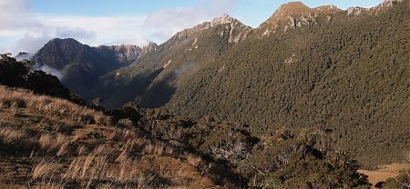 Little Wanganui Saddle looking down into the Taipo River valley and Stag Flat