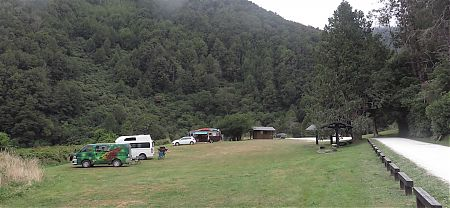 See if you can get close to one of those picnic tables. | Lyell campsite