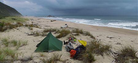 camping near Wekakura Point near Heaphy Track, Kahurangi National Park