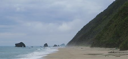 camping north of Porters Beach near Heaphy Track, Kahurangi National Park