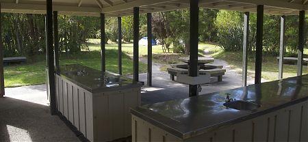 kitchen at Anchorage campsite, Coastal Track, Abel Tasman National Park