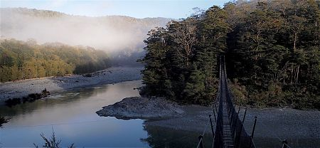 Another day, another swing bridge. The Pelorus. The only way is up. | Mt Fell, Easter 2016