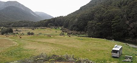 The Cobb River is close by for a summer dip.   Cobb River campsite, Kahurangi National Park