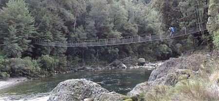 Upper Karamea swing bridge