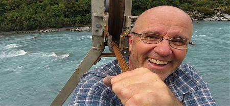 Having fun in the cage over the Hokitika River cableway. |  Frew/Toaroha Saddles, Westland