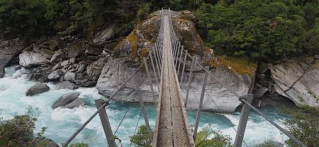 Swingbridge over the Hokitika River below Bluff Hut. |  Frew/Toaroha Saddles, Westland