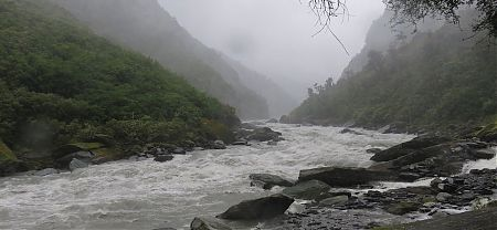 Whitcombe River in flood. Much bigger and more gnarly than it looks. |  Frew/Toaroha Saddles, Westland