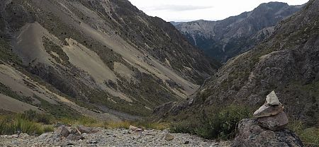 Dropping down the Gordon River from Saxton Saddle, 1490 m. Sidling scree, and speargrass. | Kaikoura to Boyle Village