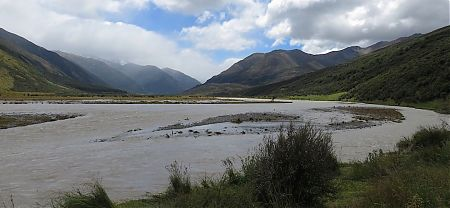 The very flooded Waiau River, but it has been much higher at night.   Kaikoura to Boyle Village