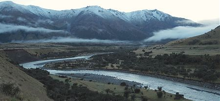 The Henry River that stopped us last night. Snow!!   Kaikoura to Boyle Village