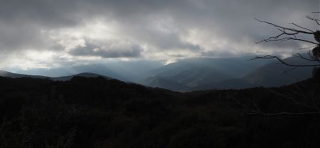 Gloom on the final morning over the Pelorus River valley.