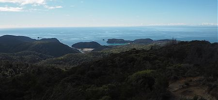 Looking down to Anchorage, and across to D'Urville Island.  | Abel Tasman Inland Track, Easter 2017