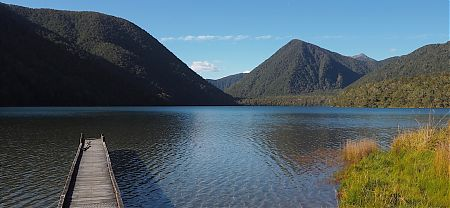 The very picturesque Lake Daniell.   Lake Daniell, Lewis Pass