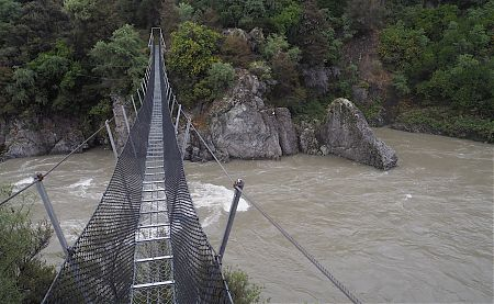 The Boyle River was looking seriously murky and dangerous. Lucky for the swingbridge.