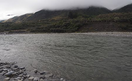 This is the Hope River crossing near Museum Hut. Everything was in waterproof bags inside my pack.