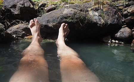 The hot pools up Mackenzie Stream are just the thing for tired leg muscles.