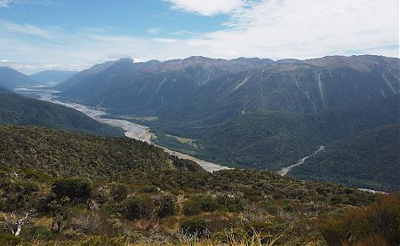 The Tatamakau River valley on a good day is just magnificent from above the tree line. Near Townsend Hut.