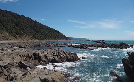 Looking south down the coast from Stafford Bay with the Cascade Plateau cliffs in the distance.